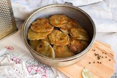 Potato pancakes with sour cream Royalty Free Stock Photo