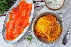Potato pancakes with sour cream and smoked salmon Royalty Free Stock Image