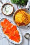 Potato pancakes with sour cream and smoked salmon Royalty Free Stock Photo