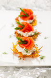 Potato pancakes. Topped with smoked salmon,asparagus and sour cream for holiday royalty free stock image