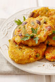 Potato pancakes with vegetables Stock Images