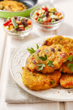 Potato pancakes with vegetables Stock Photography