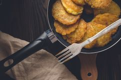 Potato pancakes. View from above. royalty free stock images