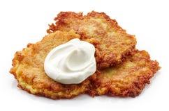 Potato pancakes on white background Stock Photography