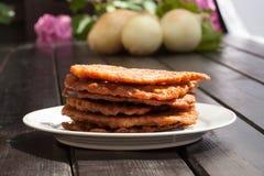Potato pancakes. On white plate Royalty Free Stock Images