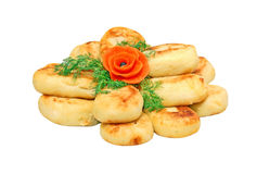 Potato patties. Zrazas, traditional ukrainian potato patties, isolated on white background Stock Images