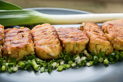 Potato patties with herbs and onions. Vegetarian potato patties with herbs and onions Royalty Free Stock Image