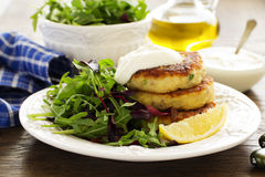 Potato patties with salad. Stock Photos