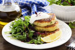 Potato patties with salad. Royalty Free Stock Image