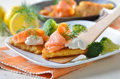 Potato patties with salmon Stock Photos
