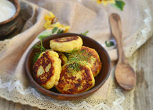 Potato Patties With Fried Bacon And Onions. Stock Photos