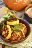 Potato Patties With Fried Bacon And Onions. Stock Images