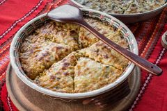 Potato pie with vegetables and cheese. Royalty Free Stock Images