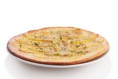 Potato pizza. Isolated on white stock photos