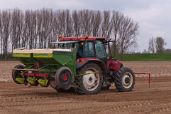 Potato planting machine coupled to the tractor Royalty Free Stock Photos