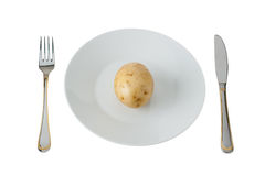 Potato On A Plate. Fork, Knife And Potato On A Plate Isolated On White Background Royalty Free Stock Photos