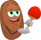 Potato playing ping pong Stock Images