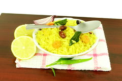 Potato Poha or batata pova puffed Beaten Rice Indian breakfast dish Stock Photography
