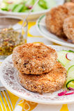 Potato and Pork Patties with Cucumber and Raddish Salad Royalty Free Stock Image