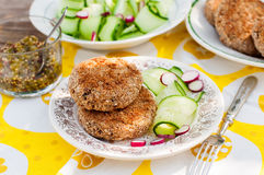 Potato and Pork Patties with Cucumber and Radish Salad Royalty Free Stock Photography