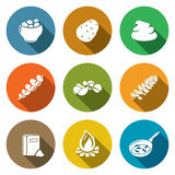 Potato products Icons Set. Vector Illustration. Royalty Free Stock Images