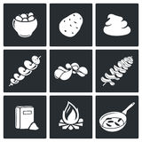 Potato products Vector Icons Set Stock Photos