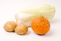 Potato and pumpkin and celery cabbage Royalty Free Stock Photos