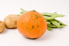 Potato and pumpkin and string beans Royalty Free Stock Images