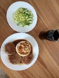 Potato puree cutlets sauce salad on the table. Potato puree cutlets sauce salad cucumber on the table Royalty Free Stock Photo