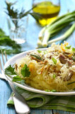 Potato puree garnished with stewed sour cabbage,traditional germ Stock Images