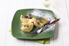 Potato puree with poppyseed and sugar. Lumps of potato puree with poppyseed and sugar Royalty Free Stock Photography