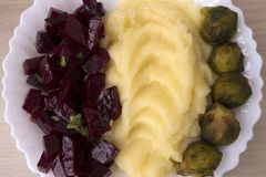 Potato puree. With beetroot salad and cabbage Royalty Free Stock Photo