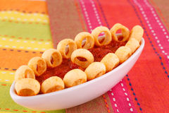 Potato rings and red sauce Stock Images