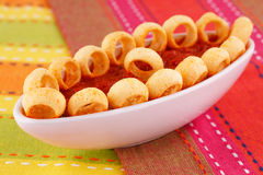 Potato rings and red sauce Royalty Free Stock Photo