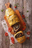 Potato roll with forest mushrooms and pepper. vertical top view Stock Photos