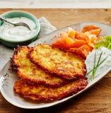 Potato Rosti, Smoked Salmon and Creamy Dill Sauce Royalty Free Stock Images