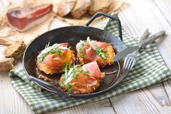 Potato rosti with bacon royalty free stock images