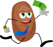 Potato running with money Royalty Free Stock Image