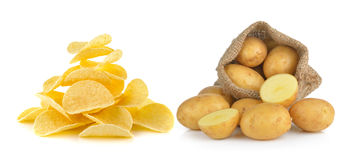 Potato in the sack and Potato chips Stock Photography