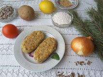 Potato and sago with pine needles burgers. And sticks, cooking vegetarian healthy food stock photos