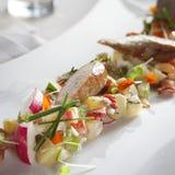 Potato salad. Gourmet potato salad with sausage and beer royalty free stock image