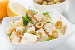 Potato salad. With feta cheese and green olives stock photos