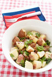 Potato salad. Made with new potatoes, turkey bacon, and Italian Leaf Parsley with a fresh vinaigrette dressing. Red white and blue theme Royalty Free Stock Photo