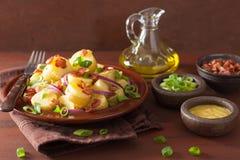 Potato salad with bacon onion mustard Royalty Free Stock Photos