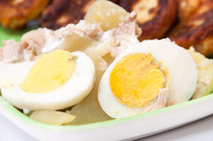Potato salad with boiled eggs and onions Stock Photo