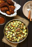 Potato Salad with Breaded Chicken Wings Royalty Free Stock Image