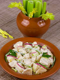 Potato salad. With celery, red onion and green paprika pepper Stock Photography