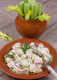 Potato salad. With celery, red onion and green paprika pepper Stock Images