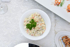 Potato salad. With cucumbers, pickled peas and mayonnaise royalty free stock image