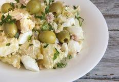 Potato salad. With egg and mayonnaise sauce royalty free stock photo